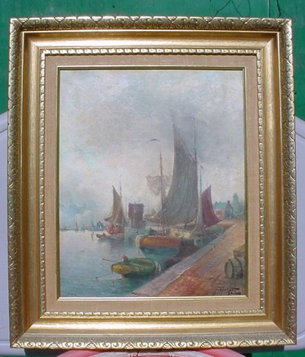 2488515: Antique Old Venetian Italian Ship Boat Oil