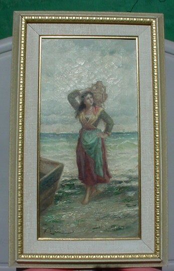 2488516: Antique Old European Girl Woman Oil Painting o