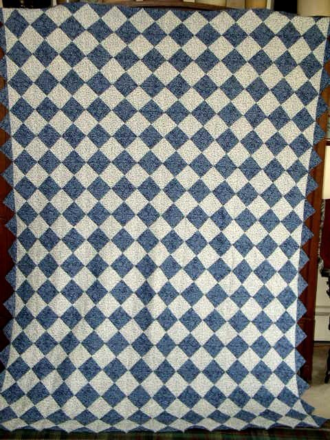 2488526: Blue And White Triangles Quilt, Double Sided