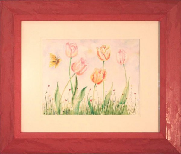 2494970: Golec butterfly flowers watercolor signed