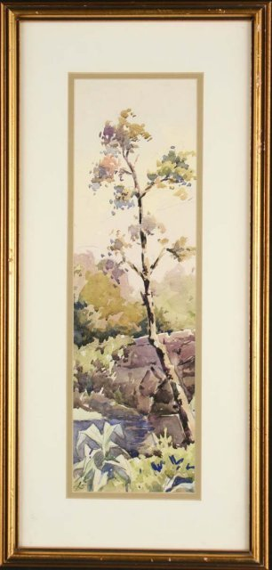 2494976: The tree - watercolor impressionist landscape