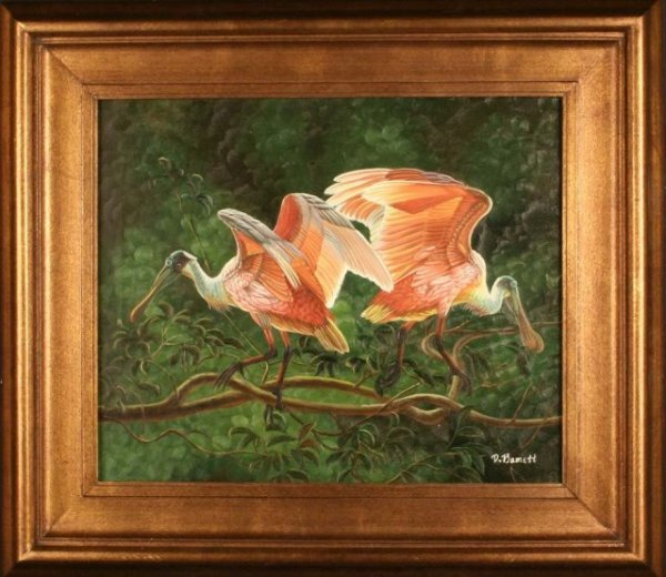 "2494984: ""Spoonbills"" by D. Bammet - oil painting"