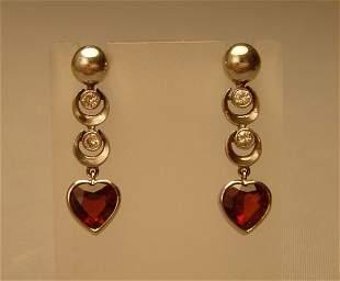 Earings Diamond Garnet Heart 14ct. Art-deco