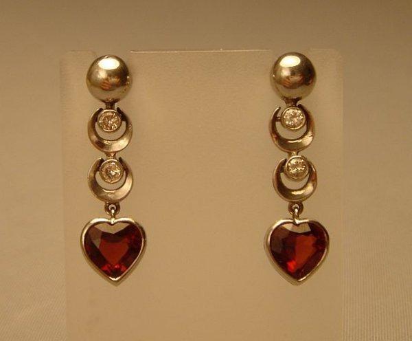 2506218: Earings  Diamond  Garnet  Heart 14ct. Art-deco