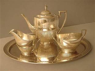 Coffee/Teaset Silver half fluted German