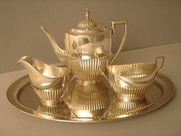2506219: Coffee/Teaset Silver half fluted German