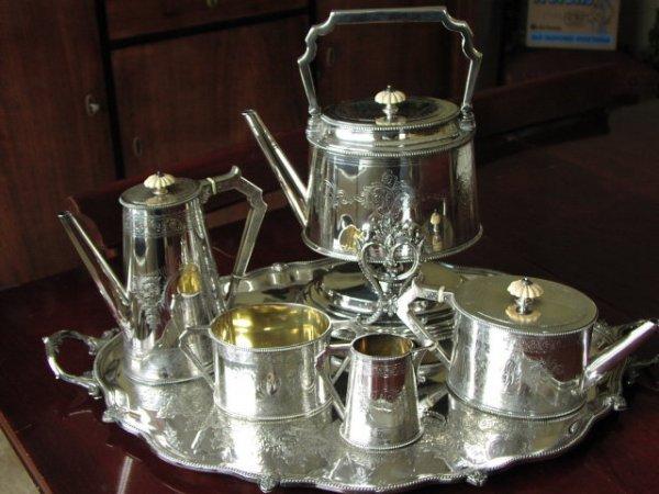 2506220: Elkington Tea & Coffe Set w/ Tray & Tilting Po