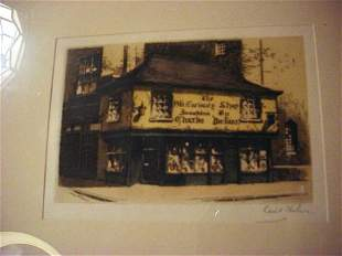 """""""The Dickens Old Curiosity Shop"""" etching"""