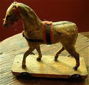 PULL TOY antique HORSE german ORIGINAL mustard