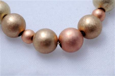 2506662: 14K Gold Beaded Necklace Rose and Yellow gold