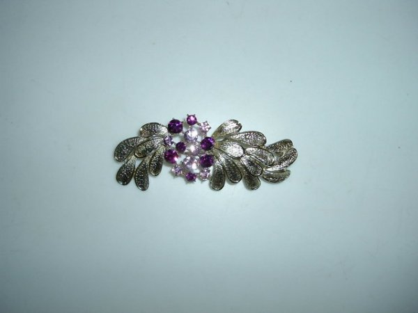 2518303: Large Old Coro Colored Rhinestone and Gilt