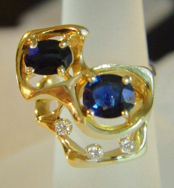 2518557: ESTATE 'G' DIAMOND & SAPPHIRE RING ~ 8.6 GRAMS