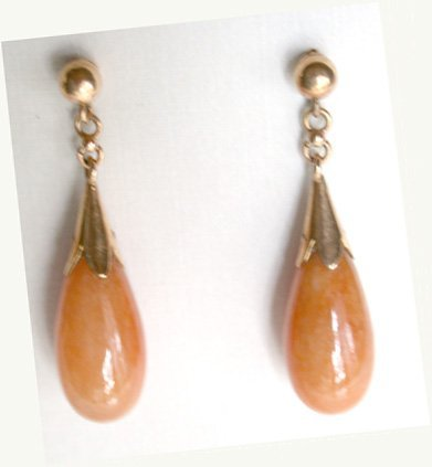 2518561: 14K Apricot Color Jadeite Earrings