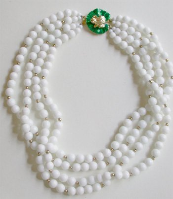 2518566: Gay Boyer White Beads -  Green Frog clasp