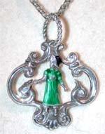 2524175: Kate Greenway enamel drop on chain