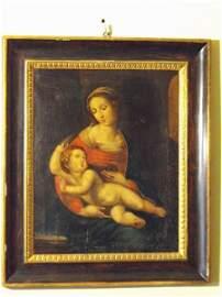 """348: Oil on canvas """"Madonna con Bambino"""""""