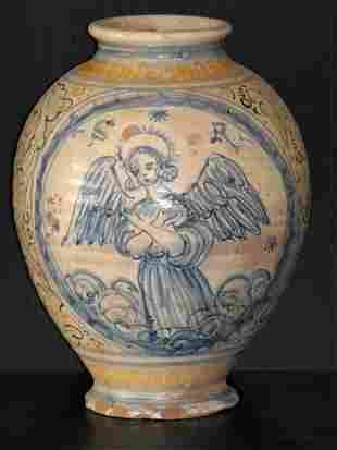 04: CALTAGIRONE MAJOLICA DRUG JAR, 18th. Century
