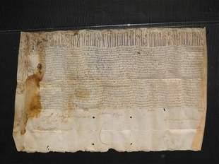 VELLUM MANUSCRIPT DATED 1608