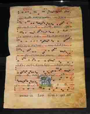 VELLUM ANTIPHONARY MANUSCRIPT circa 1540