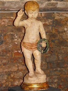 """62: ITALIAN WOOD SCULPTURE """"CHILD"""" 17th. century"""