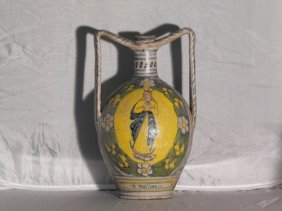 19: TWO-HANDLED AMPHORA,SUD ITALY 18th. C.