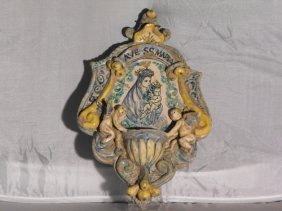 22: ANTIQUE CAMPANIAN HOLY WATER FONT 18th. C.