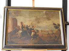 45: INCREDIBLE SCENE OF BATTLE, OIL ON CANVAS 17th. C.