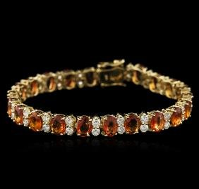 14KT Yellow Gold 16.75 ctw Yellow Sapphire and Diamond