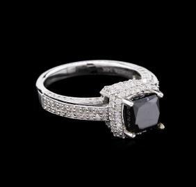 2.64 Ctw Fancy Black Diamond Ring - 14KT White Gold