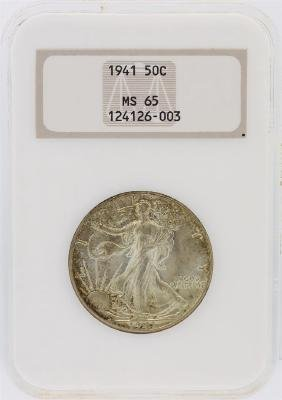 1941 NGC Graded MS65 Walking Liberty Half Dollar Silver