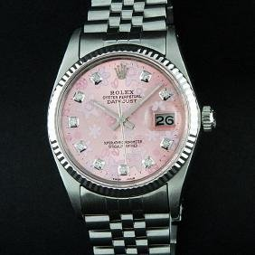 Rolex Stainless Steel Pink Floral Diamond Datejust
