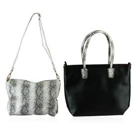 Black and Silver Textured Classic Handbag