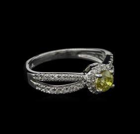 0.72 ctw Yellow Diamond Ring - 14KT White Gold
