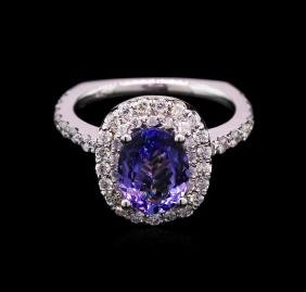 1.80 ctw Tanzanite and Diamond Ring - 14KT White Gold