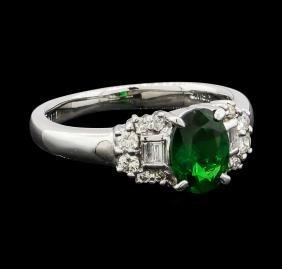 1.14 ctw Green Garnet and Diamond Ring - 18KT White