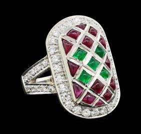 Ruby, Emerald and Diamond Ring - Platinum
