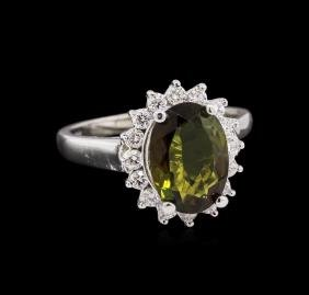 2.30 ctw Green Tourmaline and Diamond Ring - 14KT White