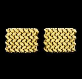 Braided Shield Design Cuff Links - 14KT Yellow Gold