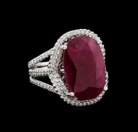 GIA Cert 12.23 ctw Ruby and Diamond Ring - 14KT White