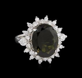 5.44 ctw Green Tourmaline and Diamond - Ring - 14KT