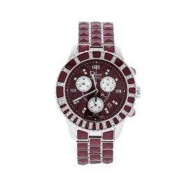 Christian Dior Stainless Steel and Burgundy Ceramic