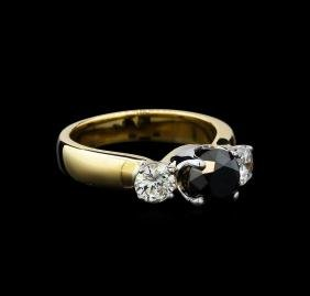 2.11 ctw Black and White Diamond Ring - 14KT Yellow