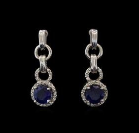 2.00 ctw Sapphire and Diamond Earrings - 14KT White