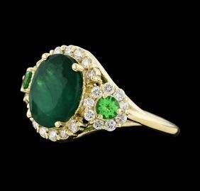 4.24 ctw Emerald, Tsavorite and Diamond Ring - 14KT