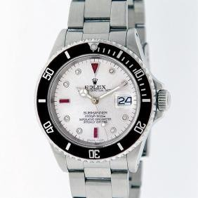 Rolex Stainless Steel Ruby And Diamond Submariner Men's