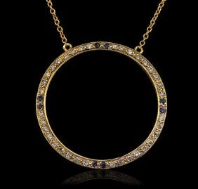 14KT Yellow Gold 0.20 ctw Sapphire and Diamond Pendant
