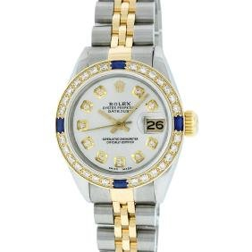 Rolex Two-tone Diamond And Sapphire Datejust Ladies