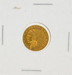 1910 $2.50 AU Indian Head Quarter Eagle Gold Coin