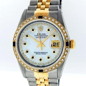 Rolex Two Tone Diamond And Sapphire Datejust Men's