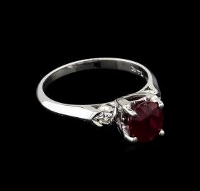 1.50 ctw Ruby and Diamond Ring - 14KT White Gold